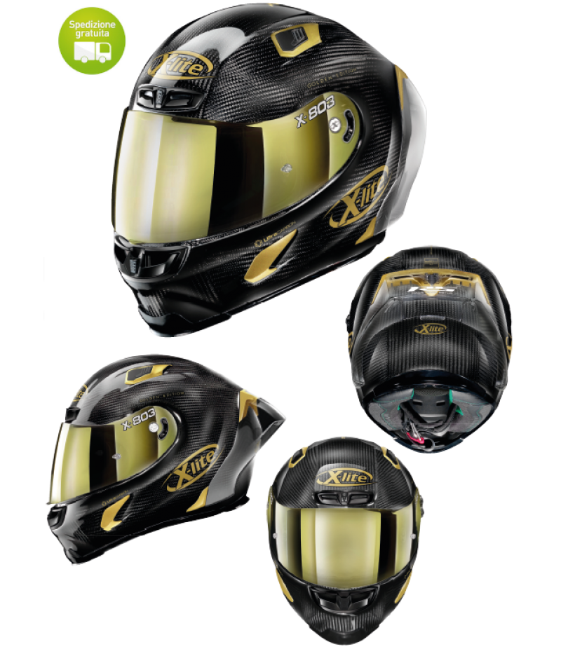 Casco moto Integrale X-Lite X-803 RS Ultra Carbon GOLDEN EDITION