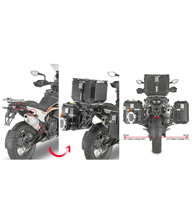 Portavaligie laterali Kappa KLOR7710CAM KTM 790 Adventure PLONE-FIT CAM SIDE