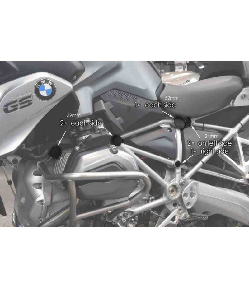 9332N Puig Tappi Telaio per BMW R1200GS/ADVENTURE 13-16  BMW R1200GS/ADVENTURE/EXCLUSIVE/RALLYE 17-18 e BMW R1250 GS 18-19 Nero